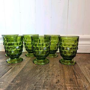 Set of 6 vintage green wine goblets